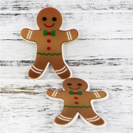 5 x 35MM GINGERBREAD MAN XMAS LASER CUT FLAT BACK RESIN HEADBANDS HAIR BOWS CARD MAKING